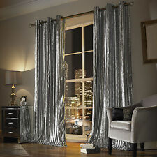 Kylie Minogue Iliana - DESIGNER Eyelet Velvet / Ring Top Velour Lined Curtains Silver 66 54