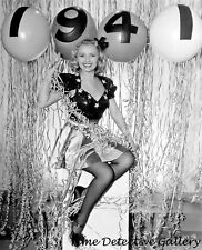 Actress Virginia Dale as New Year's Pinup Girl - Vintage Photo Print
