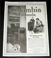 1918 OLD MAGAZINE PRINT AD, COLUMBIA GRAFONOLA, YOU FORGET YOU ARE IN A STORE!