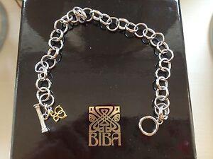 NEW ●✿ BIBA ●✿ Sterling Silver Toggle Charm Bracelet ●✿ BNIB