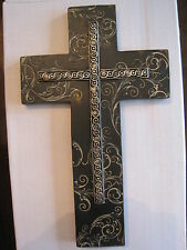 "Decorative resin wall cross w/scrolling-10""H-Ebony & Ivory Dicksons coll.-NIB"