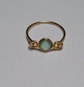 Tiny Aqua Chalcedony Gold-filled Ring/Vermeil Frame. Many Gemstones Available!