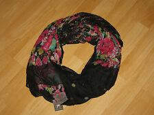 Schal XL Schwarz Blumen Vintage Boho  Bildhübsch Wunderschön