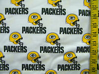 NFL GREEN BAY PACKERS WHITE 100% COTTON  FABRIC FAT QUARTER 18X29 INCHES