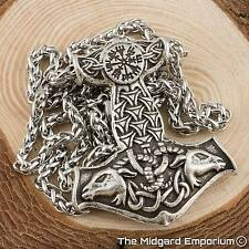 Viking Thor's Goats Silver Thor's Hammer With 3mm 50cm Steel Cross Chain