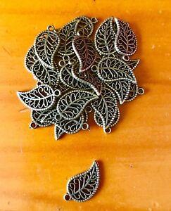 Antique Bronze leaf charms / pendants x 20