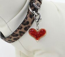 Red Heart Bling Glitter Collar Charm for your Pampered Pooch Acrylic Bling NEW