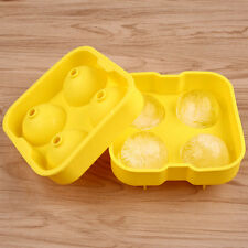 Round Ice Ball Maker Silicone Tray FOUR 1.7 inch Whiskey Cube Molds