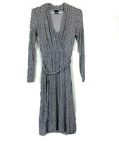 David Lawrence Womens Grey/Black Long Sleeve Long Dress with Belt Size 6