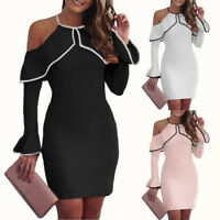 Women Long Sleeves Sexy Bodycon Evening Party Bandage Cocktail Club Short Dress