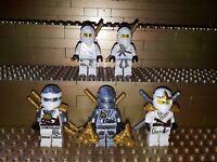 5 Lego Ninjago Zane Figuren DX ZX Dschungel Techno mit Waffen Minifig P28