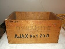 nef. Vintage Gold Medal 50LBS Dynamite Wood Box Ajax No.1 2X8 Illinois Powder Mf