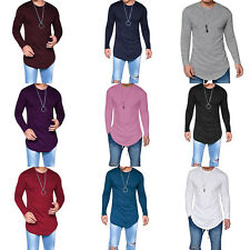 Men Slim-fit Long Sleeve Crew Neck Muscle Tee Shirt Ustreet Casual Hip-hop Tops
