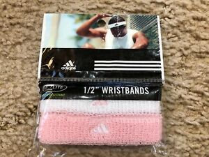 """ADIDAS ~ Climalite Odor Resistant 1/2"""" Wristbands ~ Pink & White"""