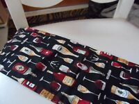 Extra Long wine bottle cover gift bags with wine bottles and glasses print