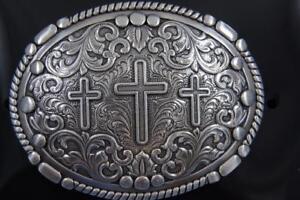 Nocona Western silver tone Belt Buckle Oval Rope Edge 3 Cross Scrolling 37980