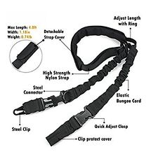 Tactical 2 Two Point Bungee Gun Rifle Sling + QD+HK+Strap+Shoulder Pad
