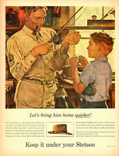 1944 WW2 era Ad, STETSON Hats for men and women, Art, Fishing, Sargent -071114