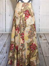 Acorn Skirt Paisley Floral Long Full 100% Linen Lined Size 6
