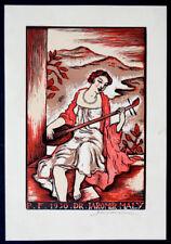 JOSEF HODEK Vintage SIGNED Ex Libris ART DECO NOUVEAU Woodcut Etching AUTOGRAPH