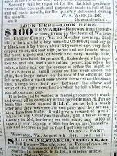 1844 Baltimore MD newspaper w frnt pg  RUNWAY SLAVE REWARD AD Warrenton VIRGINIA