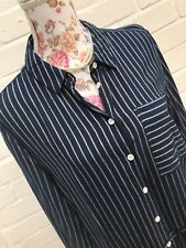 Very Shirt Dress Size 14 Navy White Stripe Long Sleeve Button Down