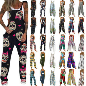 Summer Womens Dungarees Jumpsuit Overalls Casual Baggy Romper Trousers Playsuit