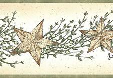 Small Folk Art Stars with Berries on Easy Walls Wallpaper Border Sm05021B