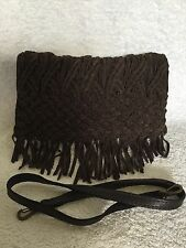NWT LUCKY BRAND Brown Leather/Suede Clutch/Shoulder Bag / Handbag