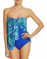 Ralph Lauren blue flyaway bandeau one piece swimsuit size 8 new