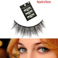 4 pares/Set 3D pestañas falsas cruzadas falsos ojos falsos pestañas maquillaQA