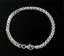 925 STAMPED STERLING SILVER PLATED LINK BOX CHAIN BRACELET 4mm 8inch