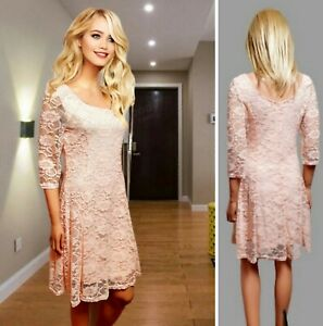 NEW LOOK DRESS SIZE 12 PEACH CREAM LACE FIT&FLARED OVER KNEE 3/4 SLEEVE #36