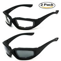 2 Pairs BLACK Motorcycle Sunglasses Driving Padded Foam Riding Glasses Clear NEW