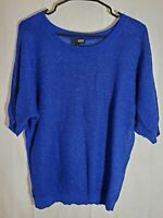 a.n.a Womens Sweater Size xl Blue Knit Glitter sparkle slouch top holiday