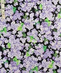 Lavender Floral Violets on Black Cotton Quilt Fabric,Crafts,Cranston Print Works