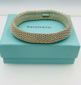 Tiffany & Co Authentic Sterling Silver Somerset Mesh Bangle Bracelet