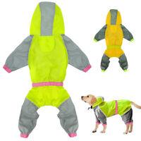 Dog Raincoat Waterproof Reflective Pet Jacket Hoodie Coat Clothes Yellow Green