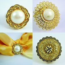 3 Scarf Clips Fashion Jewelry Gold-Tone, one made in West Germany