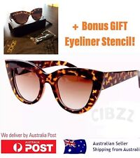 Ladies Cat Eye Sunglasses Retro Vintage UV400 Sunnies +BONUS Eye Makeup Stencil