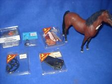 Equestrian lot: chestnut horse, boots, saddle bags, bridle, etc. 1:12 scale, new