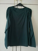 PEP & CO WOMENS DARK GREEN BLOUSE TOP SIZE 14 GATHERED LONG SLEEVES STRETCH