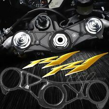 Handle Yoke Carbon Fiber Look Cover+Chrome Gold Emblem Sticker for 09-11 YZF R1