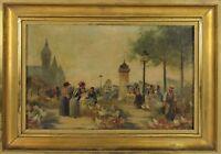 E2-036. MARKET SCENE. OIL ON BOARD. SIGNED F. VOGLER. XIX CENTURY.