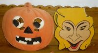 Vintage Diecut Paper Witch & German Jack-O-Lantern Halloween Decorations - As Is