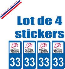 4 STICKERS PLAQUE AUTO IMMATRICULATION DEPARTEMENT 33 logo AQUITAINE Lion Rouge