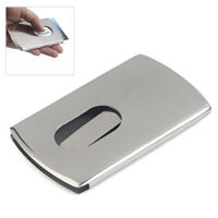 Business Card Holder Thumb Slide Out Stainless Steel ID Credit Card Storage Case