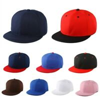 Snapback Baseball Cap New Plain Hat Hip Hop Fitted Flat Peak Stylish Canvas 1pc