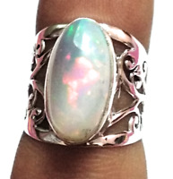 Ethiopian Fire Opal Natural Gemstone 925 Sterling Silver Ring Size 7