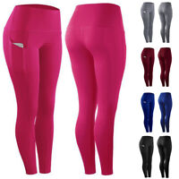 ❤️ Womens High Waist Gym Leggings Pocket Fitness Sports Running Train Yoga Pants